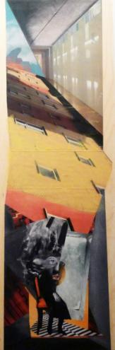 07 - deborah harris - higher up and farther in - collage on wood 36inx12in